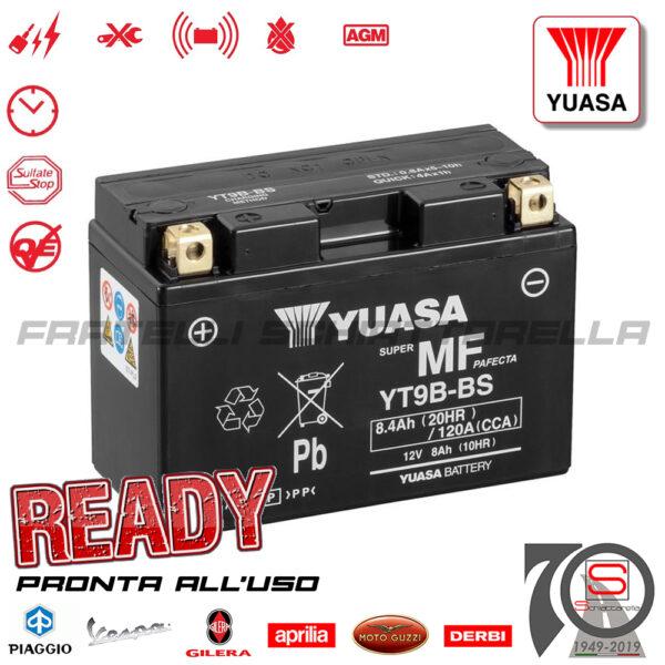 Batteria Accumulatore Moto Scooter Yuasa YT9B-BS E07056 E0820810 Acido Corredo E01135