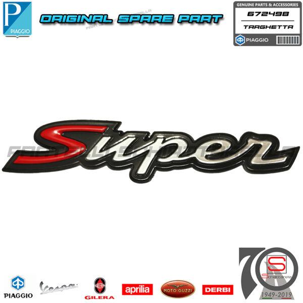 Targhetta Adesiva Vespa Posteriore Originale Piaggio Vespa GTS Super 125 150 300 656237 655322 672498