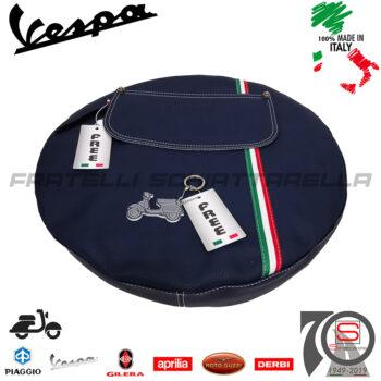 Copriruota Scorta Ruota Vespa 50 125 Special L R N Primavera ET3 Bandiera Italia colore Blu con tasca made in Italy