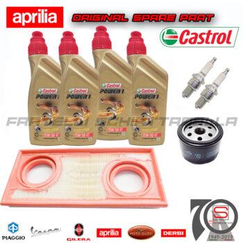 Kit-Tagliando-Candele-Filtro-Olio-Aria-Originale-Aprilia-Dorsoduro-Shiver-Gt-750-851575-829981-CR7EKB-N3821071-82960R-O115991-115991-Lubrificante-Eni-15w50-1 castrol
