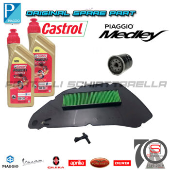 Kit Tagliando Filtro Olio Aria Originale Piaggio Medley 125-150 100891 82635R 1A007267 Lubrificante Specifica VW506.01 0W30 Motul 8100 0W30 4T Eco-Clean 100% Sintetico 102888 OLC400350