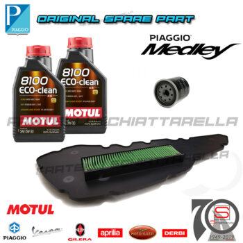 Kit-Tagliando-Filtro-Olio-Aria-Originale-Piaggio-Medley-125-150-100891-82635R-1A007267-Lubrificante-Specifica-VW506.01-0W30-Motul-8100-0W30-4T-Eco-Clean-100-Sinteticomotul