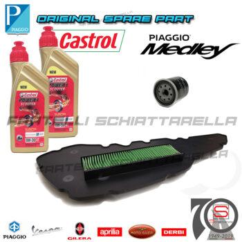 Kit Tagliando Filtro Olio Aria Originale Piaggio Medley 125-150 2020 100891 82635R 1A007267 Lubrificante Specifica VW506.01 0W30 Motul 8100 0W30 4T Eco-Clean 100% Sintetico 102888 1A016566