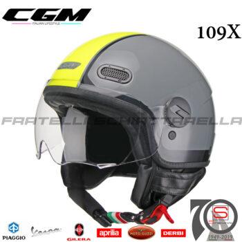 Casco-Demi-Jet-Moto-CGM-109X-Globo-Sport-Visiera-Sagomata-Grigio-Giallo-Fluo-109X-GSA-93-109XGSA93 1