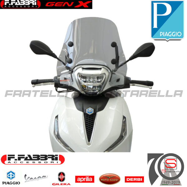 Cupolino Parabrezza Basso Lastra Fumè Piaggio Beverly 300-400 (2021) Summer 3393LS 3394LS 3392E