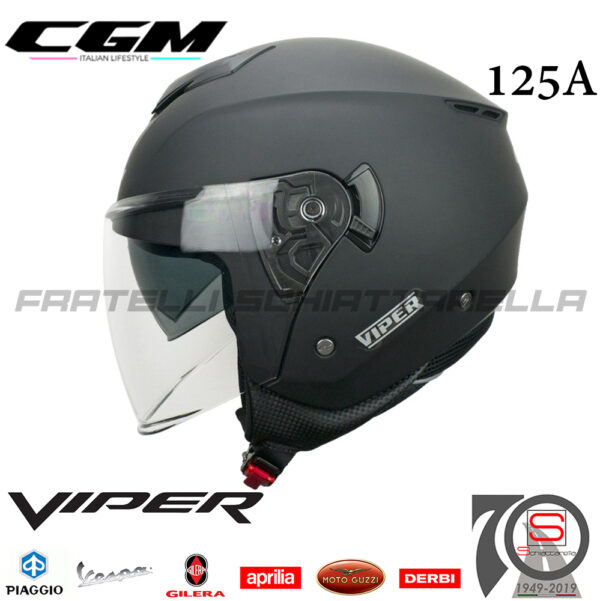 Casco Jet Moto CGM Viper Mono Doppia Visiera Visierino Scomparsa Nero Opaco 125AALV01