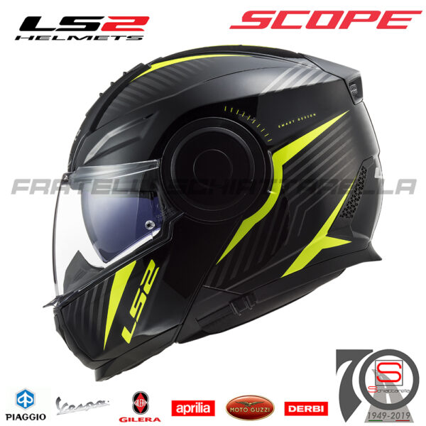 Casco Helmet Modulare Apribile LS2 FF902 Scope Skid Black H-V Yellow