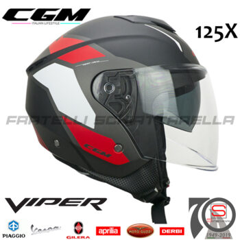 Casco Jet Moto CGM Viper Race Doppia Visiera Visierino Scomparsa Nero Rosso Bianco Opaco 125X-ALV-03 125XALV03