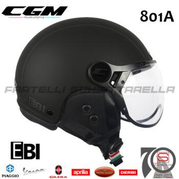 Casco Jet CGM Bici Monopattini E-Bike 801A EBI Mono Nero Opaco 801 A